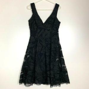 Dress the Population L Black Dress Lace Fit Flare